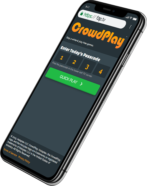 Sign into CrowdPlay using your mobile browser.